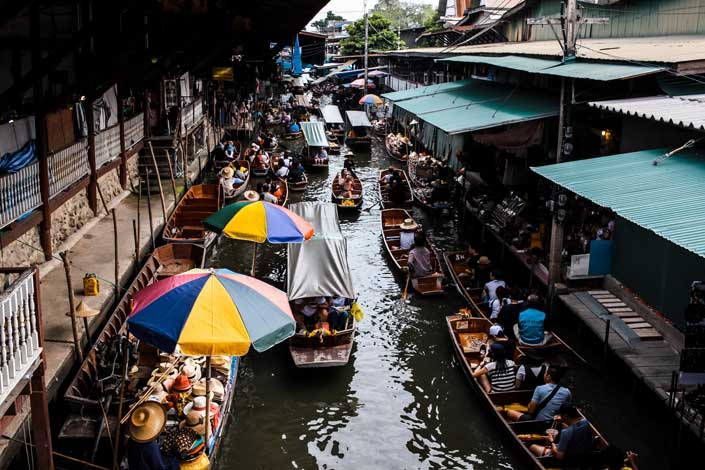Floating Market Thailand, Shop at Floating Market Experience different . Book your package with Fortune Connect Holidays. Local Food, Local vegetables, Grocery