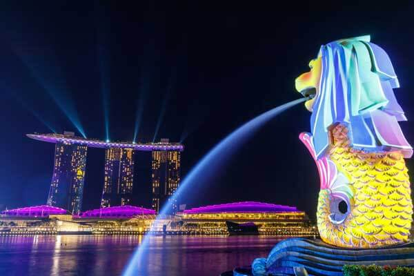 Night view of Merlin at Singapore